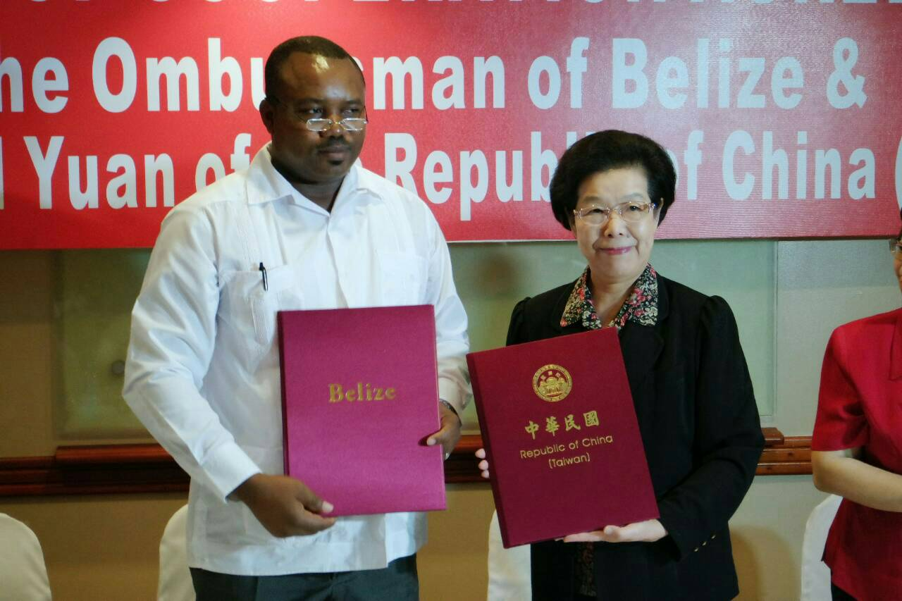 Control Yuan Signs Cooperation Agreement with Belize Ombudsman Office